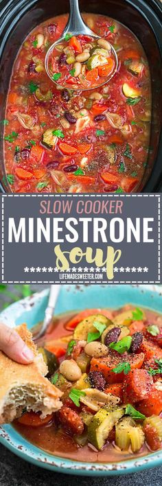 Slow Cooker Homemade Minestrone Soup makes the perfect easy comforting meal. Best of all, it's an easy set and forget recipe and is so much healthier and better than Olive Garden's version! Made entirely in your crock-pot and SO delicious!