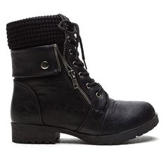 Take A Sweater Cuff Combat Boots BLACK ($27) ❤ liked on Polyvore featuring shoes, boots, ankle booties, ankle boots, black, combat boots, lace up high heel booties, faux leather booties and black chunky heel booties