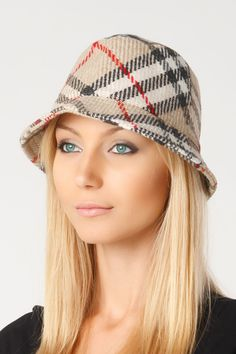 Burberry London Bucket Hat In Classic Check.