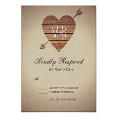 Rustic Heart Arrow Country Wedding RSVP Cards
