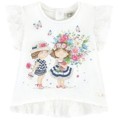 Graphic T-shirt with lace - 173540