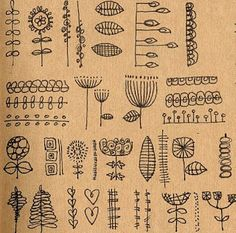 botanically inspired doodle patterns. I really like the flower shapes in the middle that remind me of Queen Anne's Lace.