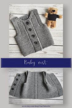 Knit baby vest Baby waistcoat - Knits for babies Baby Knitting Patterns, Baby Clothes Patterns, Baby Patterns, Clothing Patterns, Outfits With Hats, Kids Outfits, Knit Vest Pattern, Diy Bebe, Easy Knitting