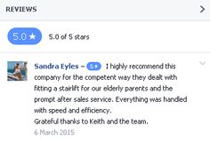 Latest Facebook Review for Castle Comfort Stairlifts Service