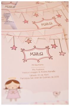 Estampa Bautismo Matilda. Handmade Invitations, Baby Invitations, Invitation Cards, Party Frame, Bird Party, Baby Girl Christening, Baptism Favors, Baby Girl Birthday, Holidays And Events