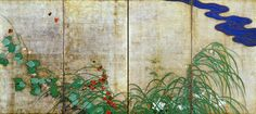 """Sakai Hōitsu (酒井 抱一, 1761-1828) was a Japanese painter of the Rimpa school. He is famous for reviving the style and popularity of Ogata Kōrin, and for creating a number of reproductions of Kōrin's work. Grasses and Flowers in the Wind and Rain commonly known as """"Flowering Plants of Summer and Autumn"""" (Hûu sôka zu, 風雨草花図 通称""""夏秋草図屏風"""")."""