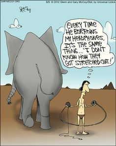Elephant Headphones #humour #cartoon #tech @Matt Tunmore! BUSTED!