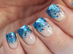 Blue Glitter With Nude Gradient Nail Art