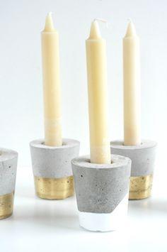 DIY concrete candle holders - emerald + ella blog