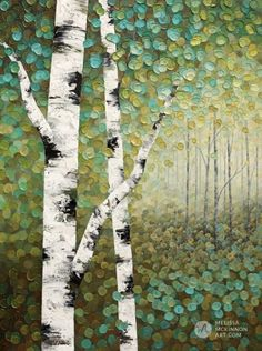 Green forest landscape painting of aspen trees and birch trees giclee art print on canvas by contemporary abstract landscape artist painter Melissa McKinnon Abstract Landscape Painting, Landscape Art, Forest Landscape, Contemporary Landscape, Landscape Paintings On Canvas, Abstract Canvas, Acrylic Painting Canvas, Diy Painting, Kids Paintings On Canvas