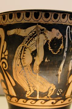 Dancing Maenad - Detail from an Ancient Greek Paestum red-figure skyphos, made by Python, ca. 330-320 BC. British Museum, London
