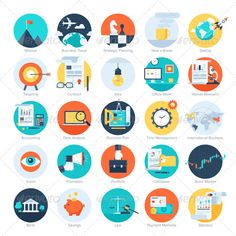 Business Icons - Vector collection of colorful flat business and finance icons. Design elements for mobile and web applications. | Buy and Download: http://graphicriver.net/item/business-icons/7609913?WT.ac=category_thumb&WT.z_author=Vasabii&ref=ksioks