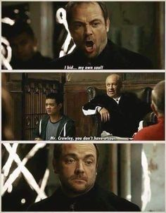Supernatural What's Up, Tiger Mommy? His Face omg Castiel, Crowley, Supernatural Tv Show, Supernatural Seasons, Fangirl, Mark Sheppard, Bobby Singer, Winchester Boys, Comic
