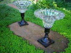 Glass Garden Flowers, Glass Garden Art, Glass Art, Diy Garden Projects, Garden Crafts, Garden Ideas, Elegant Cupcakes, Ideias Diy, Dollar Store Crafts