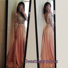 Long prom dress with slit, ball gown, 2016 backless pink chiffon sequins prom dress #coniefox #2016prom