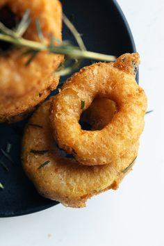 Delicata Squash Rings--these look delicious, and the batter doesn't appear to have egg in it :D
