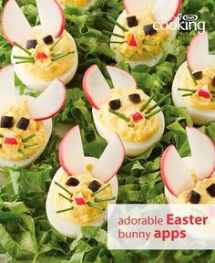 Easy appetizer alert! These tasty and cute devilled eggs set the perfect celebratory tone at your Easter feast. Tap or click photo for this Easy Bunny Devilled Eggs #recipe.