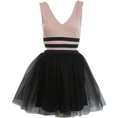 Petites Two Tone Prom Dress ($80) ❤ liked on Polyvore featuring dresses, vestidos, two tone prom dresses, two-tone dress, petite dresses, nude dress and 2 tone dress