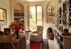 Love the arched bookcases flanking door.  Marella Agnelli Marrakech home