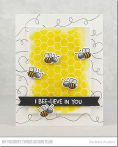 Stamps: Meant to Bee, Honeycomb Background Die-namics: Meant to Bee, Essential Fishtail Sentiment Strips  Barbara Anders #mftstamps