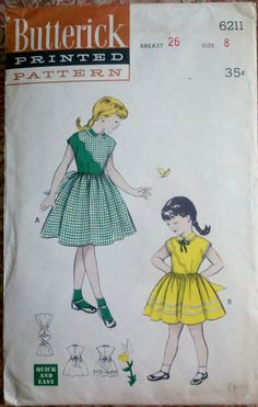 Girl's Swing Skirt Dress 1950's Sewing Pattern by Sutlerssundries, $8.00
