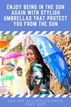 Finally, You can now enjoy the outdoors again - this time with a beautiful UV Umbrella with sun protection! Choose a gorgeous umbrella with a large comfortable handle, eco-friendly materials for the canopy and UPF50 sun protection! Hawaiian Sunsets Umbrellas for women are 20% off in May for all styles (including cute sun umbrellas for kids) on Amazon! #sunumbrella #uvprotection #uvblocker #upf #upf50 #upfprotection #spfprotection #summerstyle #womenfashion