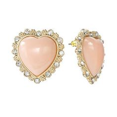 So cute and dainty! Find these at Kohl's. Candie's Gold Tone Simulated Crystal Textured Heart Button Stud Earrings