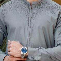 Riwaj Men's Wear is Pakistan's leading Men's clothing brand which is known for its finest fabric quality and traditional designs. The brand is considered as a goal setter in the market's fashion. Man Dress Design, Dress Designs, Stylish Shirts, Casual Shirts, Latest Kurta Designs, Suit Fashion, Mens Fashion, Mens Shalwar Kameez, Gents Kurta Design