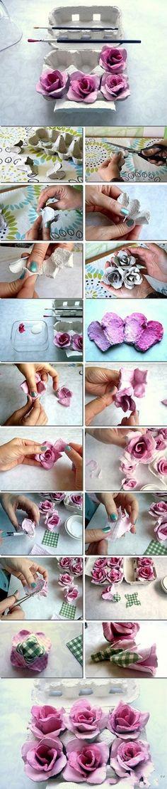 Haal de lente in huis met deze vrolijke bloemen van papier en karton.  - Rozen van een eierdoos maken