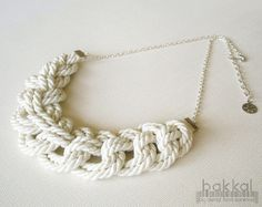 Ivory Cord Necklace Rope Necklace Knot Necklace Sailors by bakkal, $32.00