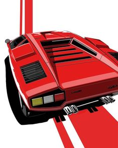 Red Lines Countach . By Francesco Paladino. Red Lines Countach . By Francesco Paladino. Supercars, Automobile, Car Illustration, Illustrations, Car Posters, Car Sketch, Car Drawings, Automotive Art, Retro Cars