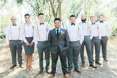 California Wedding with Leafy Decor from Erica Houck Photography. Casual Groomsmen, Groomsmen Outfits, Groom And Groomsmen, Groom Suits, Groom Attire, Wedding Centerpieces, Wedding Bouquets, Wedding Flowers, Wedding Decorations