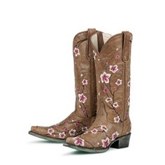 @Overstock - Hand-crafted from distressed leather, these cowboy boots from Lane Boots feature feminine flower detailing. With pointed toes and a comfortable padded footbed, these boots are finished with a scratched turquoise outsole.http://www.overstock.com/Clothing-Shoes/Lane-Boots-Womens-Brown-Pink-Sakura-Cowboy-Boots/6322220/product.html?CID=214117 $379.99