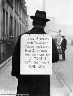 The U.S. during the Great Depression, 1930s.