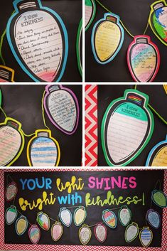 """Celebrate KINDNESS for the months of December and January! What is included: **10 Styles of Light Bulbs **Light bulbs with writing lines and without lines **Bulletin Board Posters **4 different writing prompts **Copy on black and white or colored paper **blank light bulbs with or without writing lines Checkout the preview for more specific details! *** UPDATED NOVEMBER 2018 TO INCLUDE BULLETIN BOARD LETTERS FOR """"YOUR LIGHT SHINES BRIGHT WITH KINDNESS!"""""""