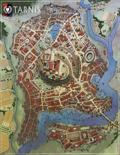 Tarnis- city with an acropolis Fantasy Map Making, Fantasy City Map, Fantasy Town, Fantasy World Map, Fantasy Rpg, Medieval Fantasy, Dark Fantasy, City Layout, Map Layout