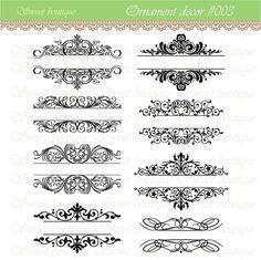 Vintage Calligraphy Clip Art Clipart DIY Wedding Invitation Designs Scrapbook Embellishment Text Dividers Digital Frame 0003 via Etsy