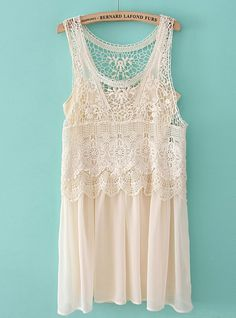 Beige Sleeveless Lace Crochet Chiffon Dress - Want it! I have the lace part in a shirt with a blue fabric under it! Vestido Dress, Dress P, Dress Me Up, Chiffon Dress, Lace Chiffon, Chiffon Shirt, Lace Dress, Dress Shirt, Chiffon Tops