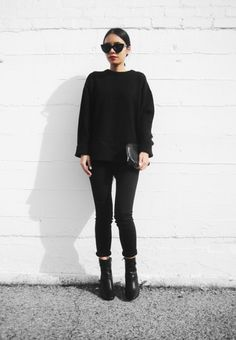 black on black fall look