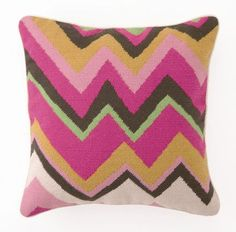 Trina Turk Pink Zig Zag Needlepoint Pillow
