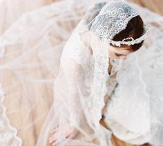 Chapel lace edge mantilla drop bridal veil by EricaElizabethDesign