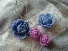 Flower Flips  Blue and Purple Floral Dangle by bohoblossoms, $10.00