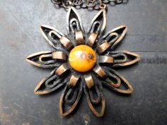 Handmade Amber PendantSolid Copper PendantHuge by CodettiSupply