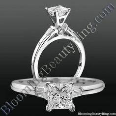 #TiffanyStyle  #PrincessCutDiamond  #BaguetteDiamonds  #PeekaBooDiamond  #PlatinumEngagementRing  http://www.BloomingBeautyRing.com