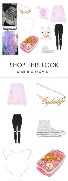 """""""Untitled #107"""" by nightstalker ❤ liked on Polyvore featuring WithChic, Topshop, Converse and Cara"""