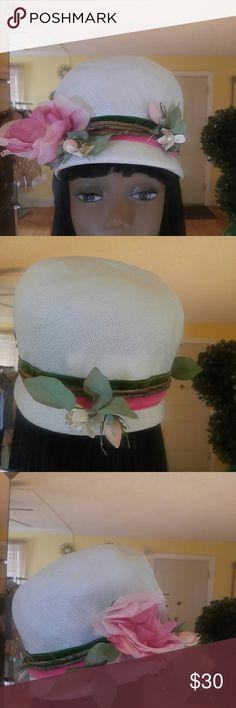 "Vintage Cute White High Hat with Flowers. Vintage Cute White Hat with Flowers. Good Condition.  21"" Label: Mr. John Debutante John Wanamaker Vintage Accessories Hats"