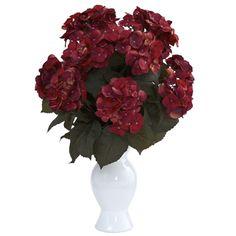Hydrangea w/White Vase- Nearly Natural Rust Silk Arrangement, Hydrangea Vase, Hydrangea Colors, Hydrangea Not Blooming, Silk Floral Arrangements, Flower Arrangement, Hydrangeas, Silk Plants, Fake Plants, Indoor Flowers