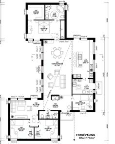 One plan house with a great layout for separate areas and lots of natural light Small House Plans, House Floor Plans, Sims 4 House Design, Sims Building, Open Plan Kitchen Living Room, Sims 4 Houses, Apartment Plans, House Drawing, Villa Design