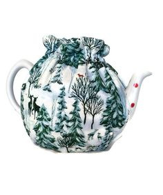 Teapot Cozy with Pine trees. Deer and Cardinals on white,Quilted Teapot cozy  5-8 cup teapot cozy #226 by CheriesSundries on Etsy