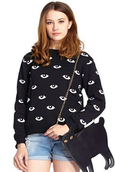 ROMWE | ROMWE White Eyes Print Black Long-sleeved Sweatshirt, The Latest Street Fashion